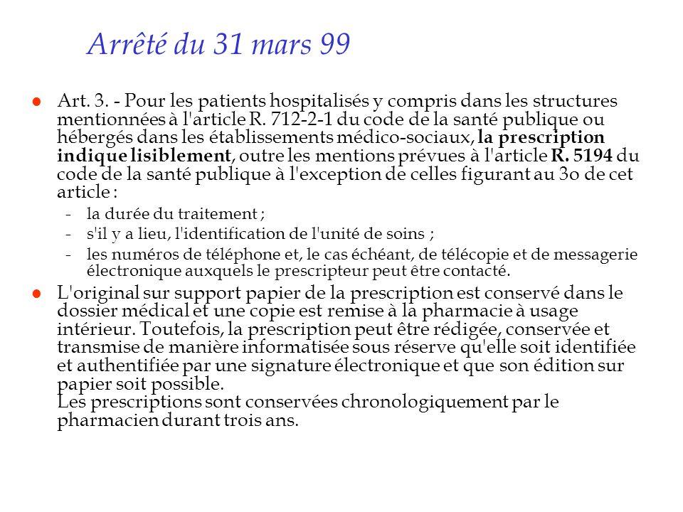 Arrêté du 31 mars 99 l Art. 3. - Pour les patients hospitalisés y compris dans les structures mentionnées à l'article R. 712-2-1 du code de la santé p