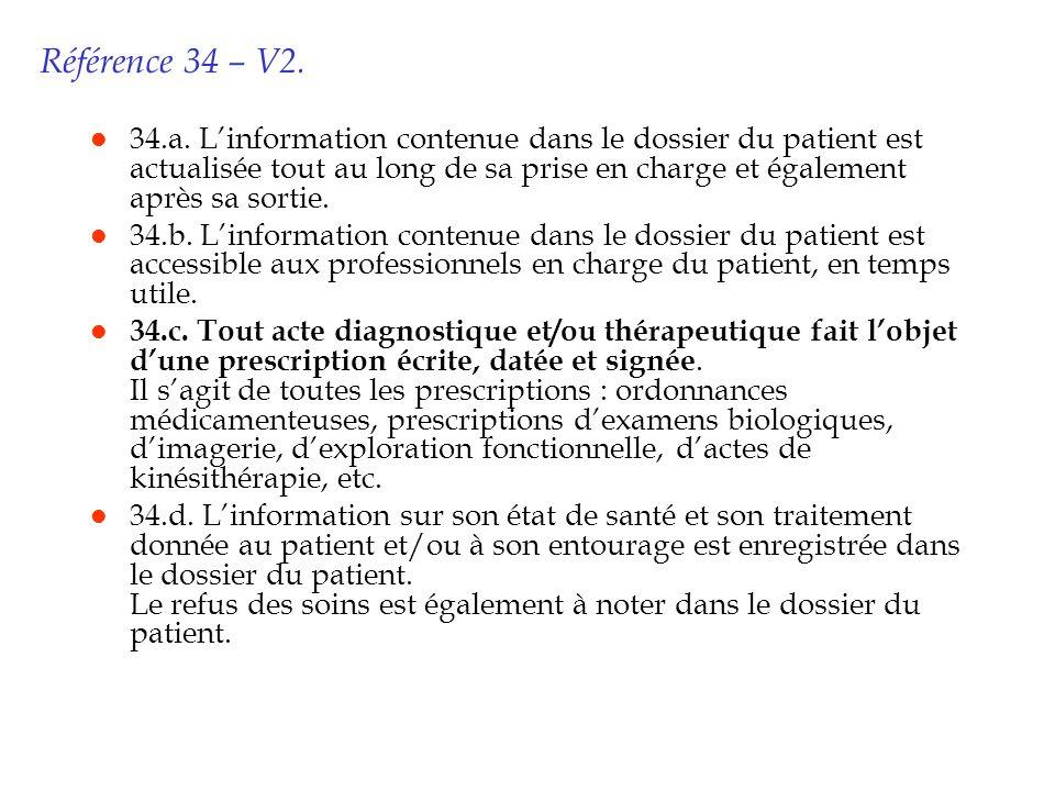Référence 34 – V2. l 34.a. Linformation contenue dans le dossier du patient est actualisée tout au long de sa prise en charge et également après sa so