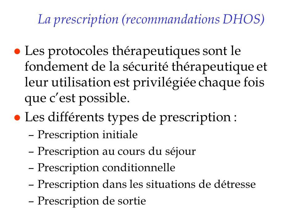 La prescription (recommandations DHOS) l Les protocoles thérapeutiques sont le fondement de la sécurité thérapeutique et leur utilisation est privilég