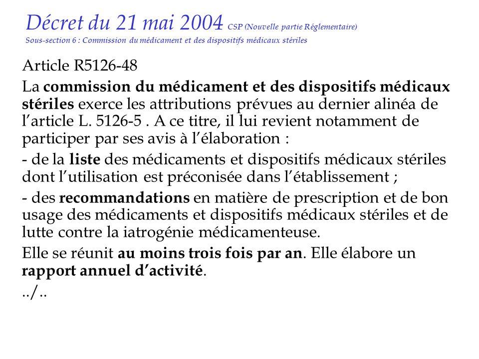 Décret du 21 mai 2004 CSP (Nouvelle partie Réglementaire) Sous-section 6 : Commission du médicament et des dispositifs médicaux stériles Article R5126