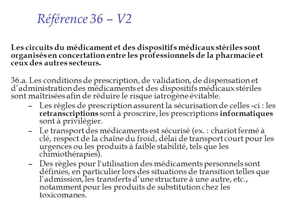 Référence 36 – V2 Les circuits du médicament et des dispositifs médicaux stériles sont organisés en concertation entre les professionnels de la pharma