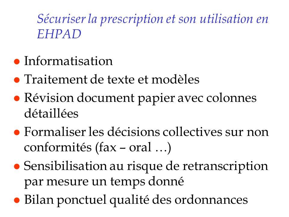 Sécuriser la prescription et son utilisation en EHPAD l Informatisation l Traitement de texte et modèles l Révision document papier avec colonnes déta