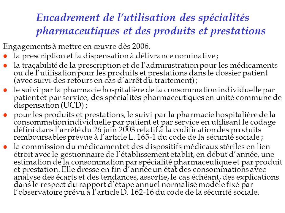 Encadrement de lutilisation des spécialités pharmaceutiques et des produits et prestations Engagements à mettre en œuvre dès 2006. l la prescription e