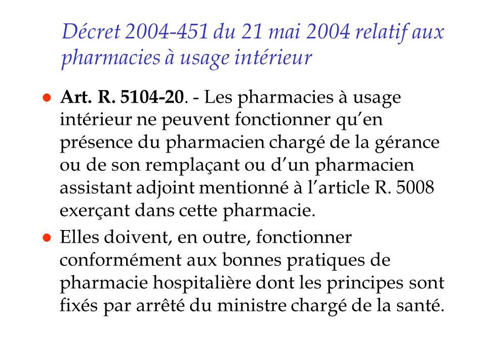 Décret 2004-451 du 21 mai 2004 relatif aux pharmacies à usage intérieur l Art. R. 5104-20. - Les pharmacies à usage intérieur ne peuvent fonctionner q