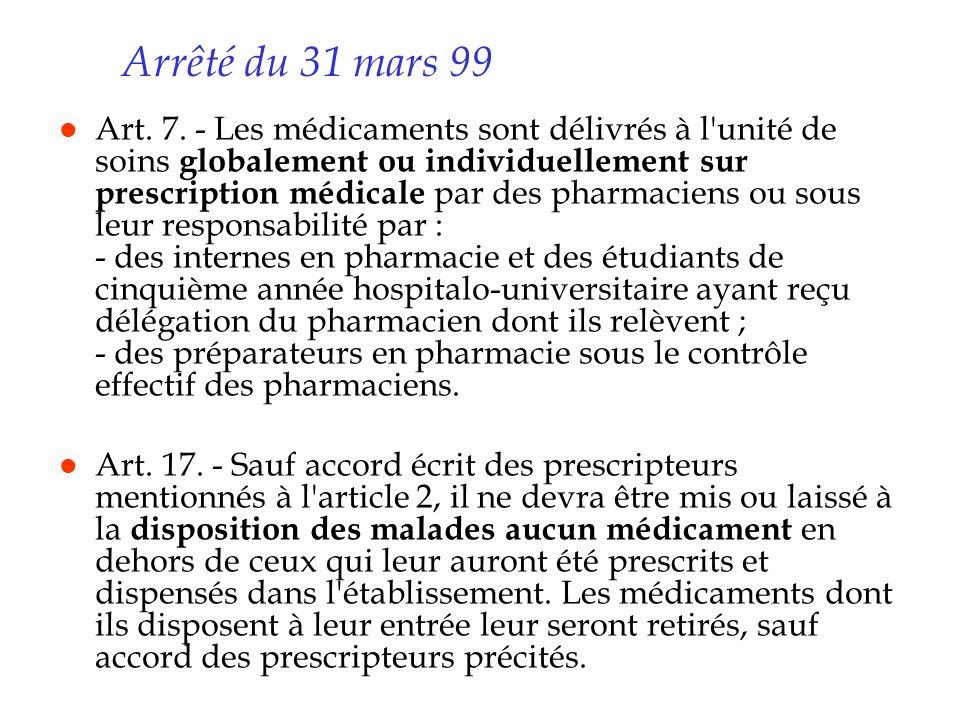 Arrêté du 31 mars 99 l Art. 7. - Les médicaments sont délivrés à l'unité de soins globalement ou individuellement sur prescription médicale par des ph