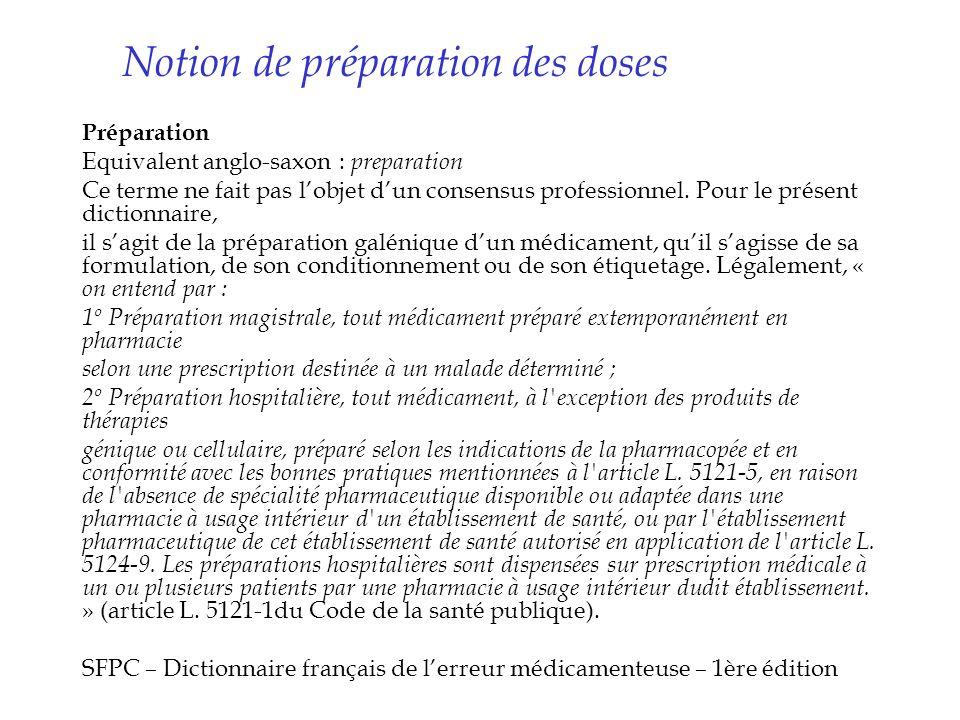 Notion de préparation des doses Préparation Equivalent anglo-saxon : preparation Ce terme ne fait pas lobjet dun consensus professionnel. Pour le prés