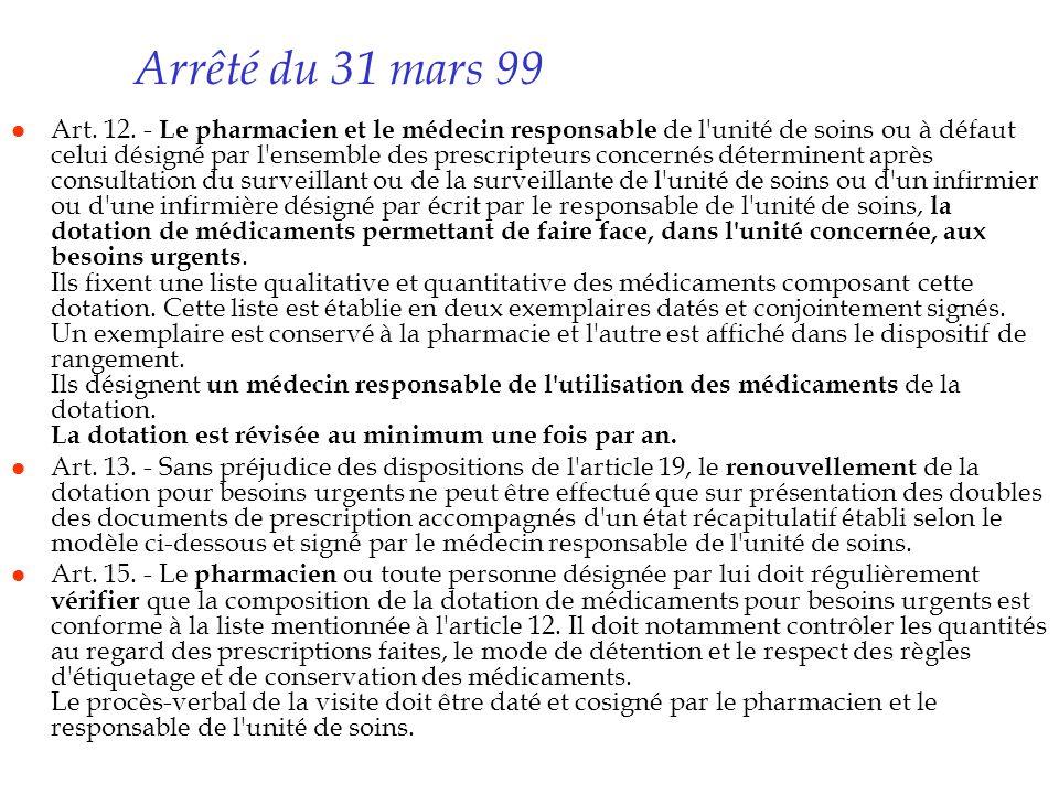Arrêté du 31 mars 99 l Art. 12. - Le pharmacien et le médecin responsable de l'unité de soins ou à défaut celui désigné par l'ensemble des prescripteu