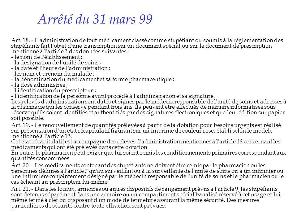 Arrêté du 31 mars 99 Art. 18. - L'administration de tout médicament classé comme stupéfiant ou soumis à la réglementation des stupéfiants fait l'objet