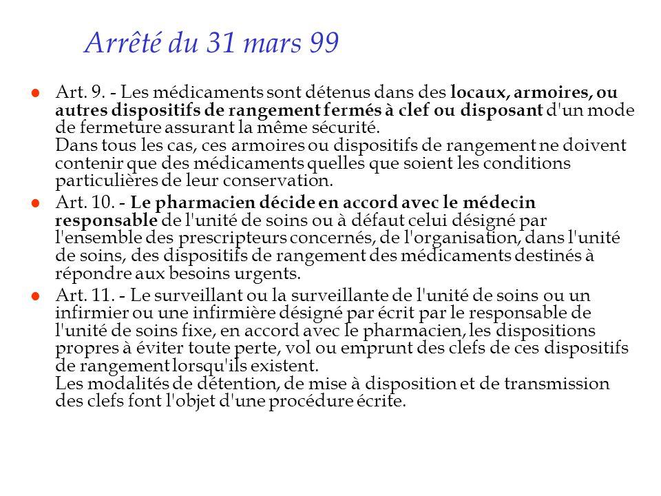 Arrêté du 31 mars 99 l Art. 9. - Les médicaments sont détenus dans des locaux, armoires, ou autres dispositifs de rangement fermés à clef ou disposant
