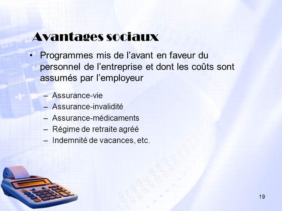 19 Avantages sociaux Programmes mis de lavant en faveur du personnel de lentreprise et dont les coûts sont assumés par lemployeur –Assurance-vie –Assu
