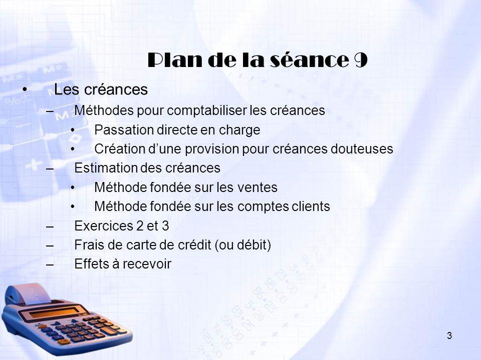 3 Plan de la séance 9 Les créances –Méthodes pour comptabiliser les créances Passation directe en charge Création dune provision pour créances douteus