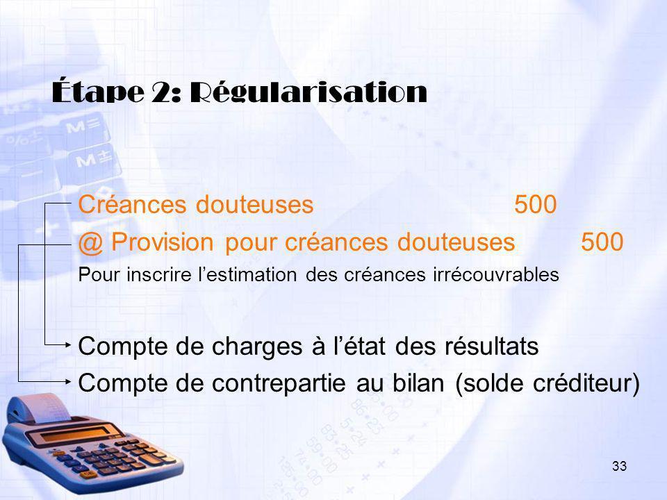33 Étape 2: Régularisation Créances douteuses 500 @ Provision pour créances douteuses 500 Pour inscrire lestimation des créances irrécouvrables Compte