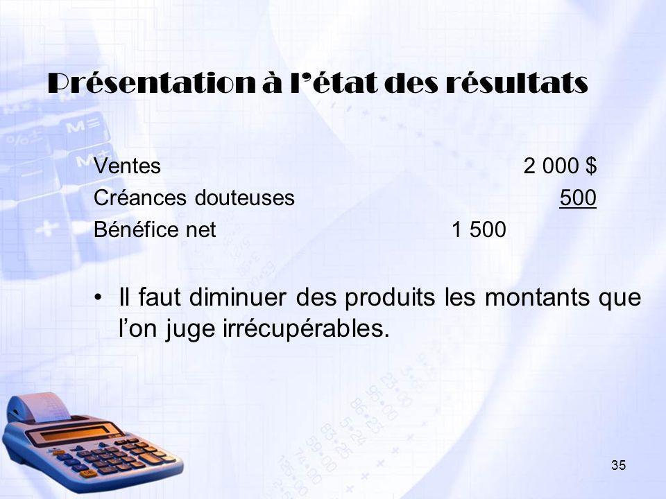 35 Présentation à létat des résultats Ventes 2 000 $ Créances douteuses500 Bénéfice net 1 500 Il faut diminuer des produits les montants que lon juge