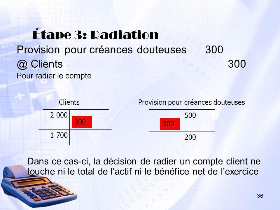36 Étape 3: Radiation Provision pour créances douteuses 300 @ Clients 300 Pour radier le compte Dans ce cas-ci, la décision de radier un compte client