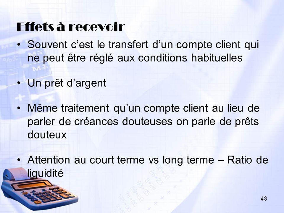 43 Effets à recevoir Souvent cest le transfert dun compte client qui ne peut être réglé aux conditions habituelles Un prêt dargent Même traitement quu