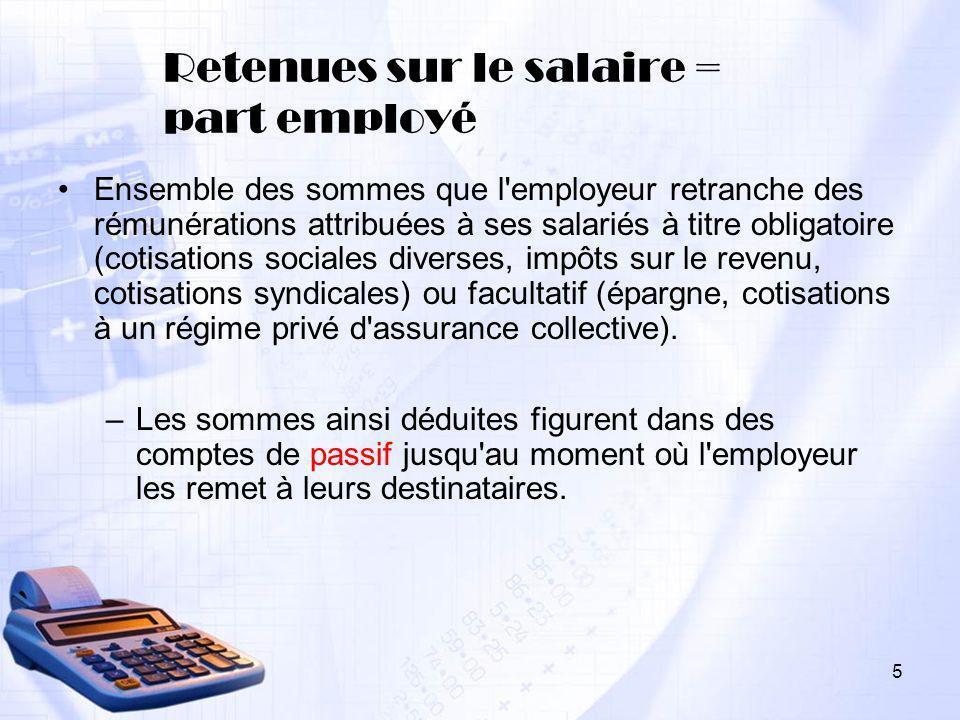 5 Retenues sur le salaire = part employé Ensemble des sommes que l'employeur retranche des rémunérations attribuées à ses salariés à titre obligatoire