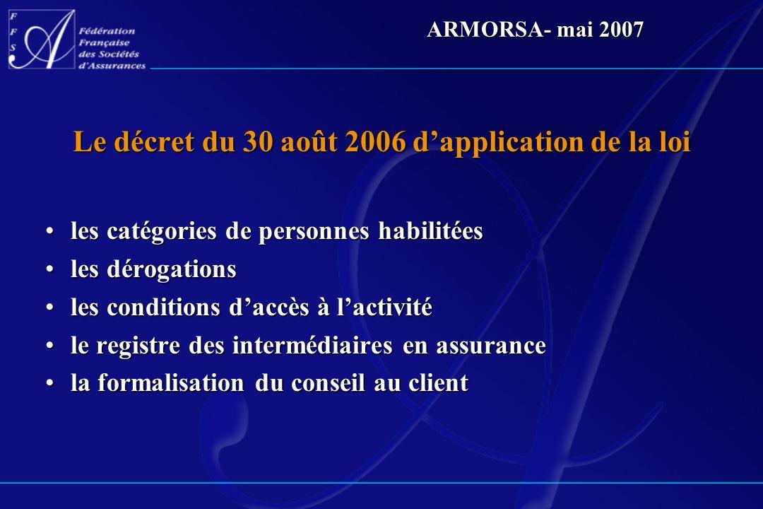 ARMORSA- mai 2007 La formalisation du conseil à la souscription des obligations qui concernent les intermédiaires dassurance et leurs salariésdes obligations qui concernent les intermédiaires dassurance et leurs salariés une mise en œuvre qui devient effective à compter du 30 avril 2007une mise en œuvre qui devient effective à compter du 30 avril 2007 la recommandation FFSA du 19 décembre 2006 sur la démarche de conseil et la formalisation du conseilla recommandation FFSA du 19 décembre 2006 sur la démarche de conseil et la formalisation du conseil