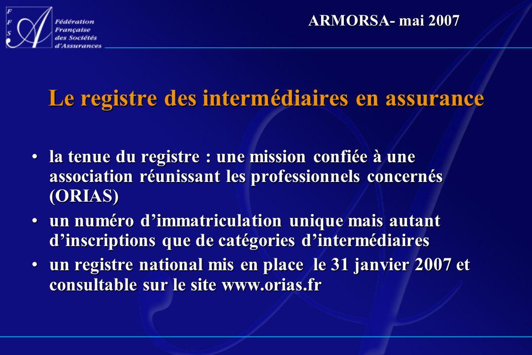 ARMORSA- mai 2007 Le registre des intermédiaires en assurance la tenue du registre : une mission confiée à une association réunissant les professionne