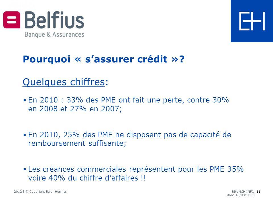 En 2010 : 33% des PME ont fait une perte, contre 30% en 2008 et 27% en 2007; En 2010, 25% des PME ne disposent pas de capacité de remboursement suffisante; Les créances commerciales représentent pour les PME 35% voire 40% du chiffre daffaires !.