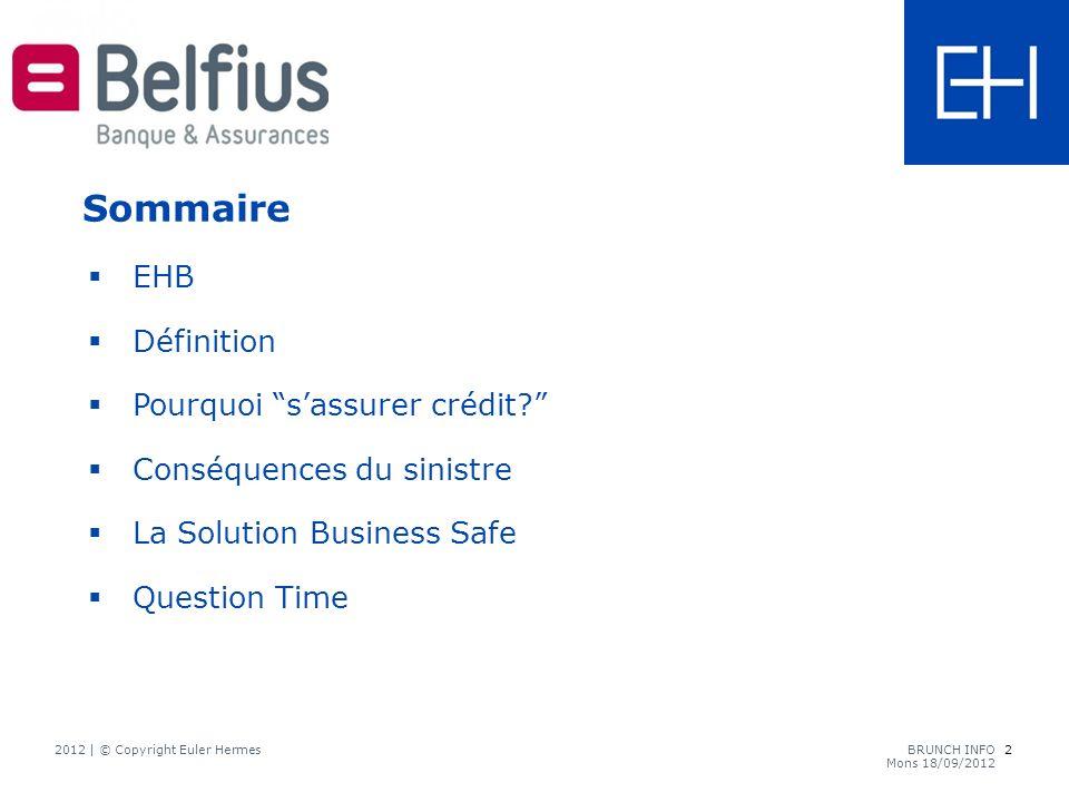 2 2012 | © Copyright Euler HermesBRUNCH INFO Mons 18/09/2012 EHB Définition Pourquoi sassurer crédit.