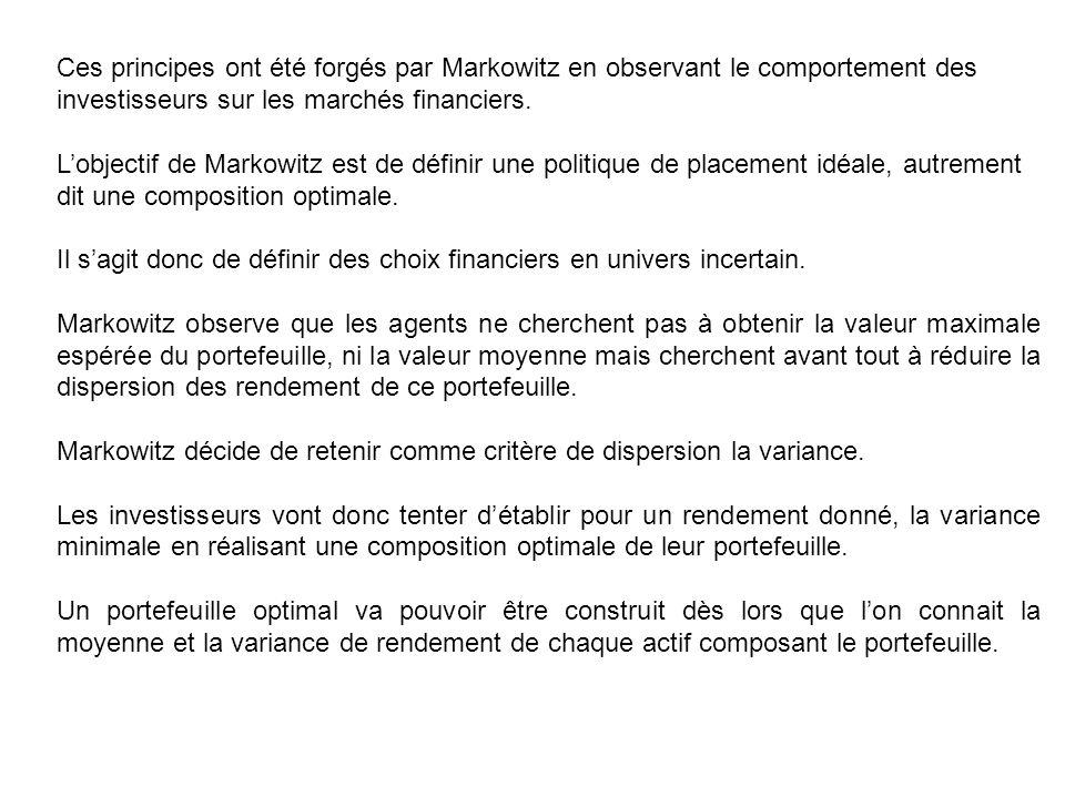 Ces principes ont été forgés par Markowitz en observant le comportement des investisseurs sur les marchés financiers. Lobjectif de Markowitz est de dé