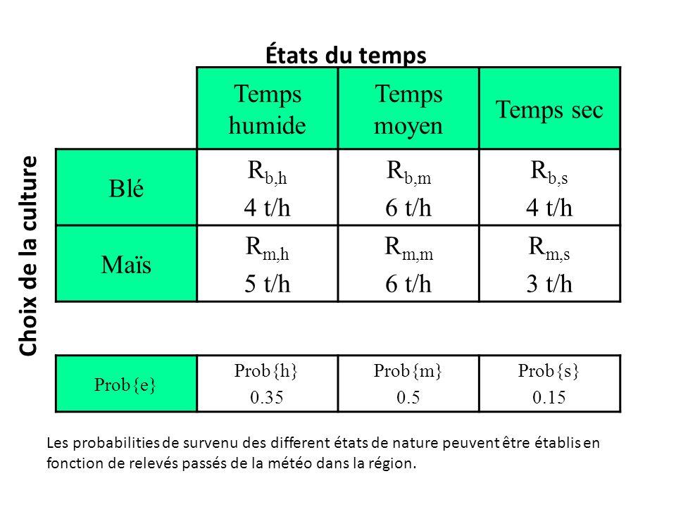 Temps humide Temps moyen Temps sec Blé R b,h 4 t/h R b,m 6 t/h R b,s 4 t/h Maïs R m,h 5 t/h R m,m 6 t/h R m,s 3 t/h Prob{e} Prob{h} 0.35 Prob{m} 0.5 P
