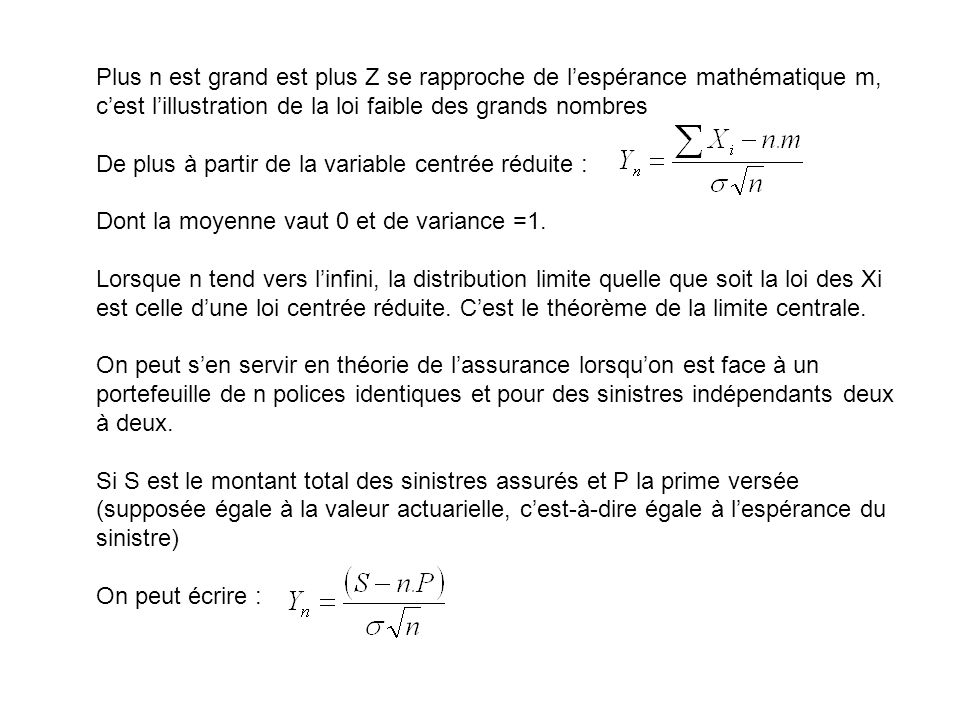 Plus n est grand est plus Z se rapproche de lespérance mathématique m, cest lillustration de la loi faible des grands nombres De plus à partir de la v