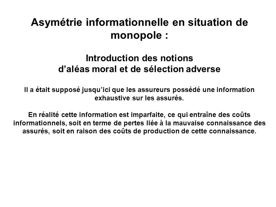 Asymétrie informationnelle en situation de monopole : Introduction des notions daléas moral et de sélection adverse Il a était supposé jusquici que le