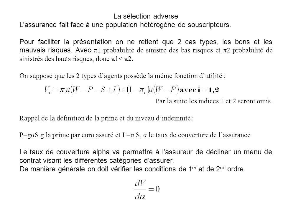 La sélection adverse Lassurance fait face à une population hétérogène de souscripteurs. Pour faciliter la présentation on ne retient que 2 cas types,