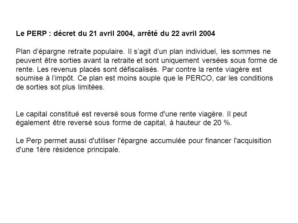 Le PERP : décret du 21 avril 2004, arrêté du 22 avril 2004 Plan dépargne retraite populaire. Il sagit dun plan individuel, les sommes ne peuvent être