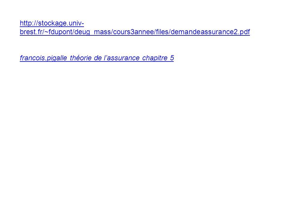 http://stockage.univ- brest.fr/~fdupont/deug_mass/cours3annee/files/demandeassurance2.pdf francois.pigalle théorie de lassurance chapitre 5