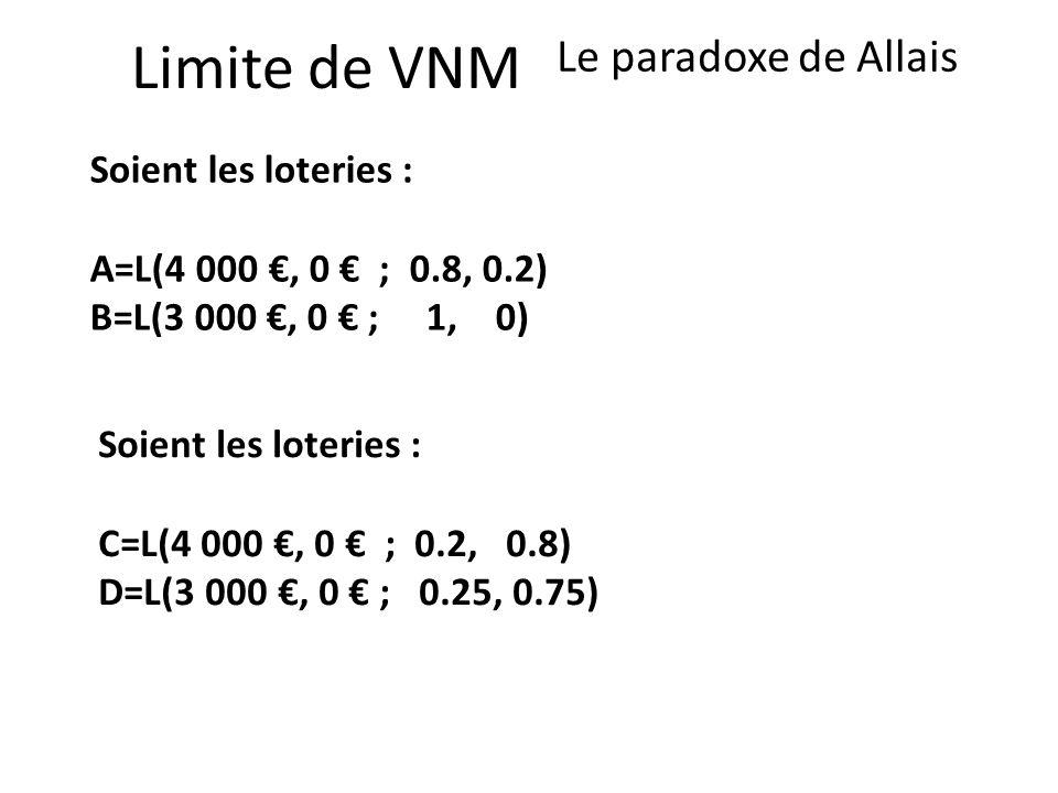 Limite de VNM Le paradoxe de Allais Soient les loteries : A=L(4 000, 0 ; 0.8, 0.2) B=L(3 000, 0 ; 1, 0) Soient les loteries : C=L(4 000, 0 ; 0.2, 0.8)