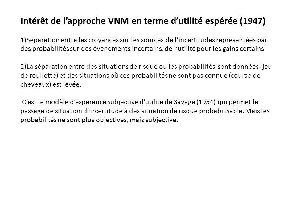 Intérêt de lapproche VNM en terme dutilité espérée (1947) 1)Séparation entre les croyances sur les sources de lincertitudes représentées par des proba