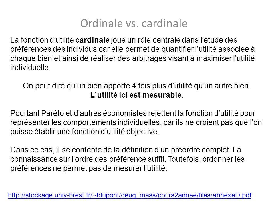 Ordinale vs. cardinale http://stockage.univ-brest.fr/~fdupont/deug_mass/cours2annee/files/annexeD.pdf La fonction dutilité cardinale joue un rôle cent