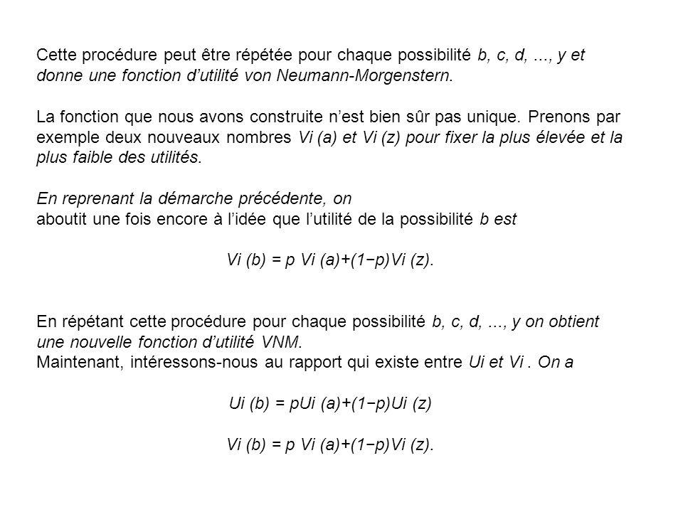Cette procédure peut être répétée pour chaque possibilité b, c, d,..., y et donne une fonction dutilité von Neumann-Morgenstern. La fonction que nous