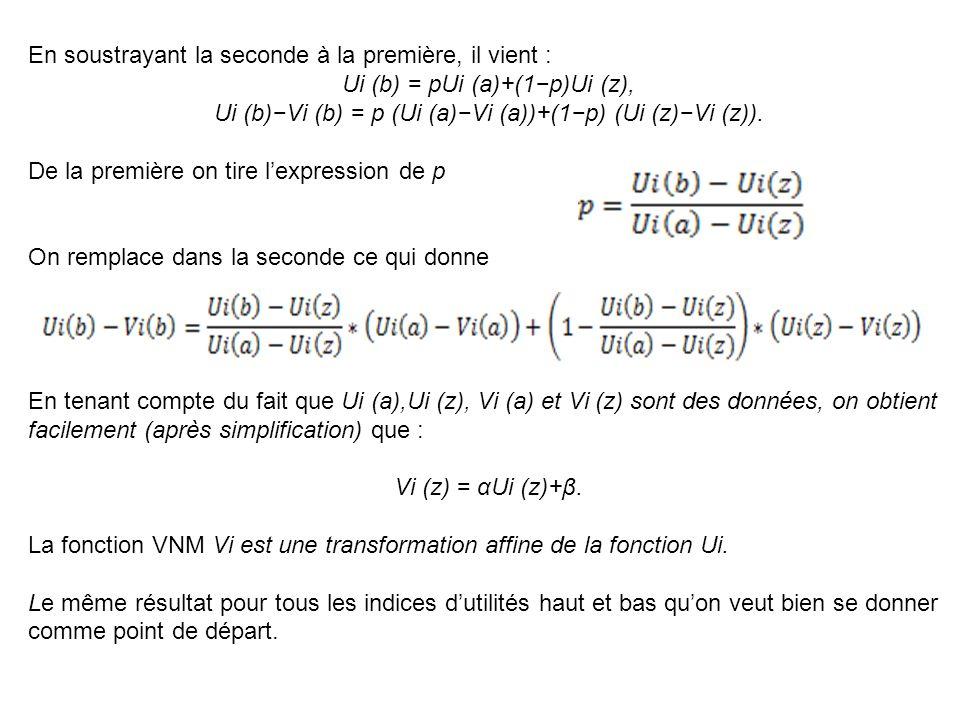 En soustrayant la seconde à la première, il vient : Ui (b) = pUi (a)+(1p)Ui (z), Ui (b)Vi (b) = p (Ui (a)Vi (a))+(1p) (Ui (z)Vi (z)). De la première o