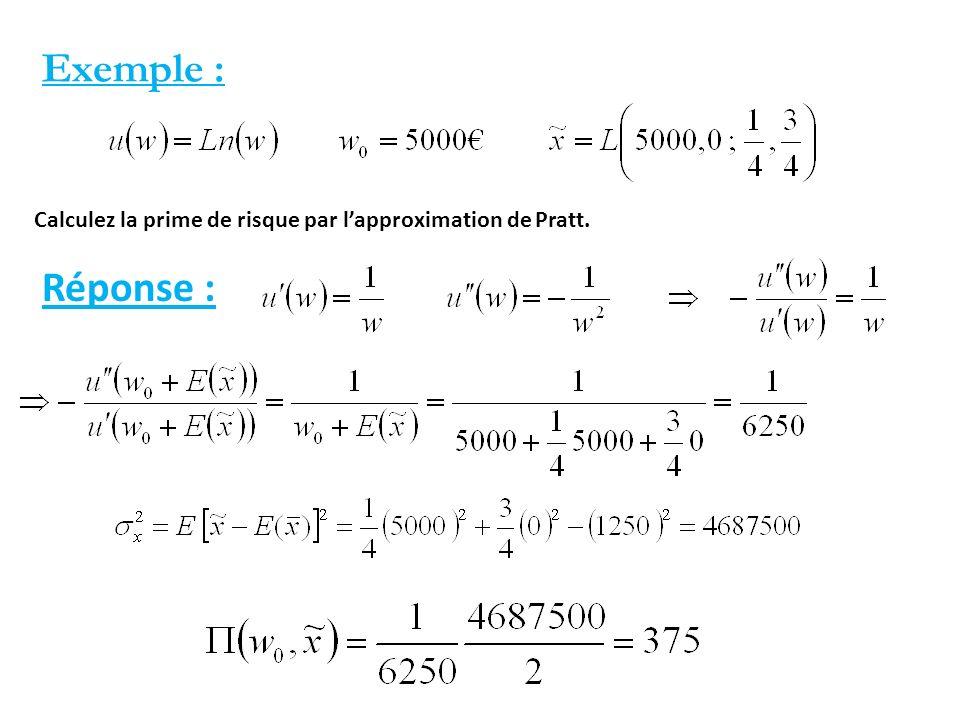Exemple : Calculez la prime de risque par lapproximation de Pratt. Réponse :