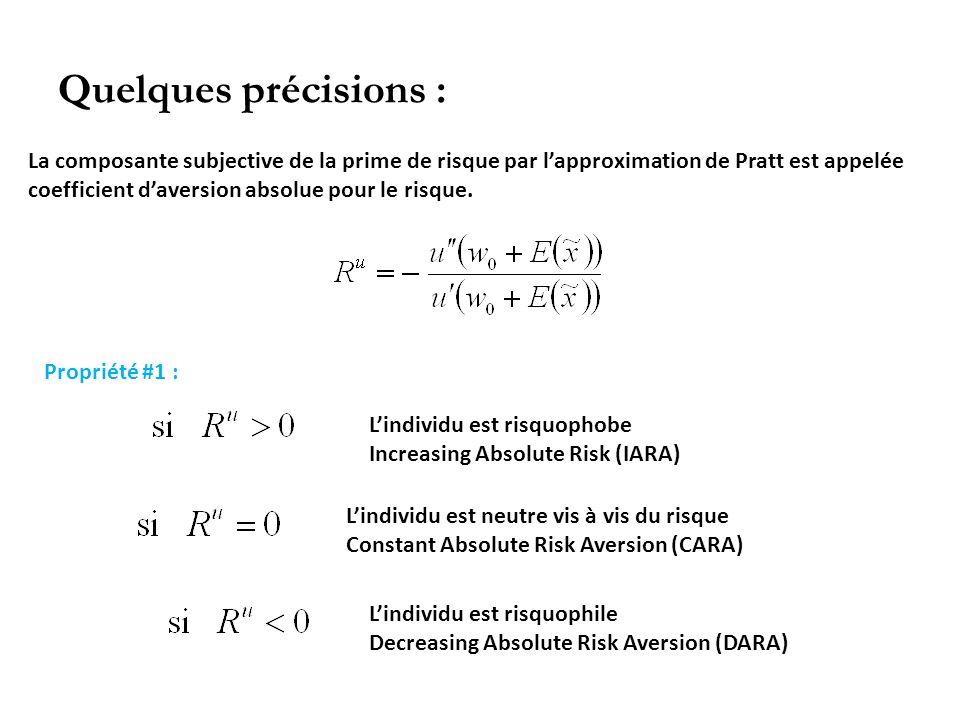 Quelques précisions : La composante subjective de la prime de risque par lapproximation de Pratt est appelée coefficient daversion absolue pour le ris