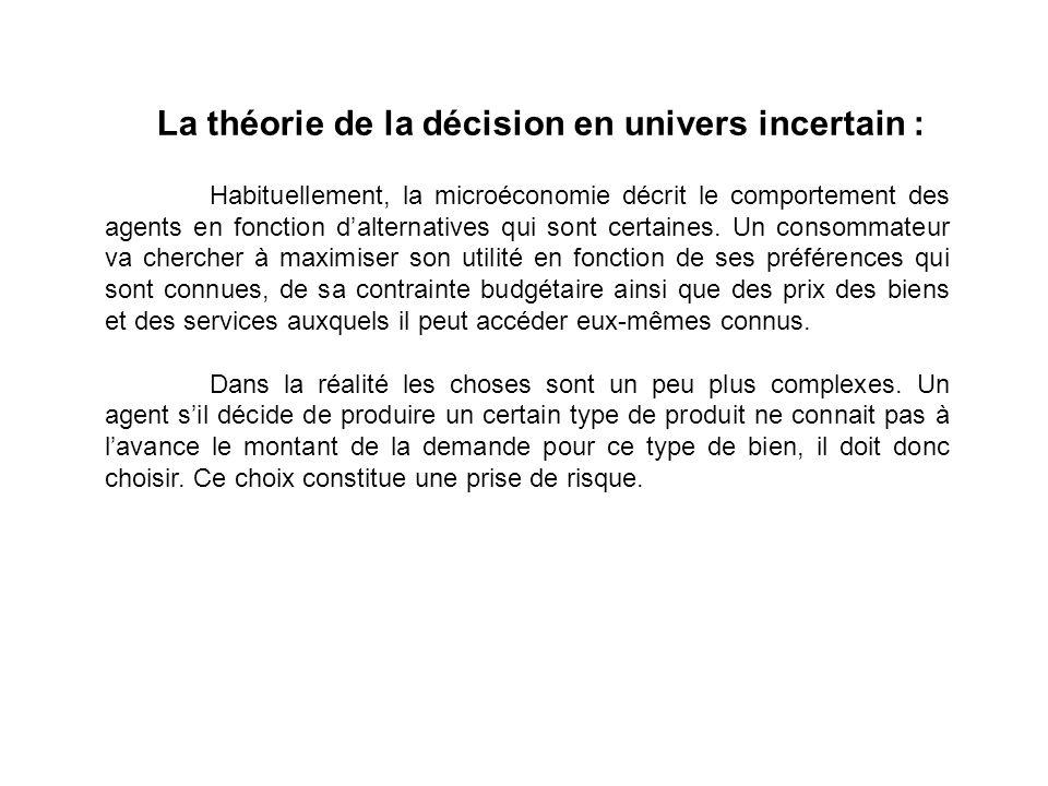 La théorie de la décision en univers incertain : Habituellement, la microéconomie décrit le comportement des agents en fonction dalternatives qui sont