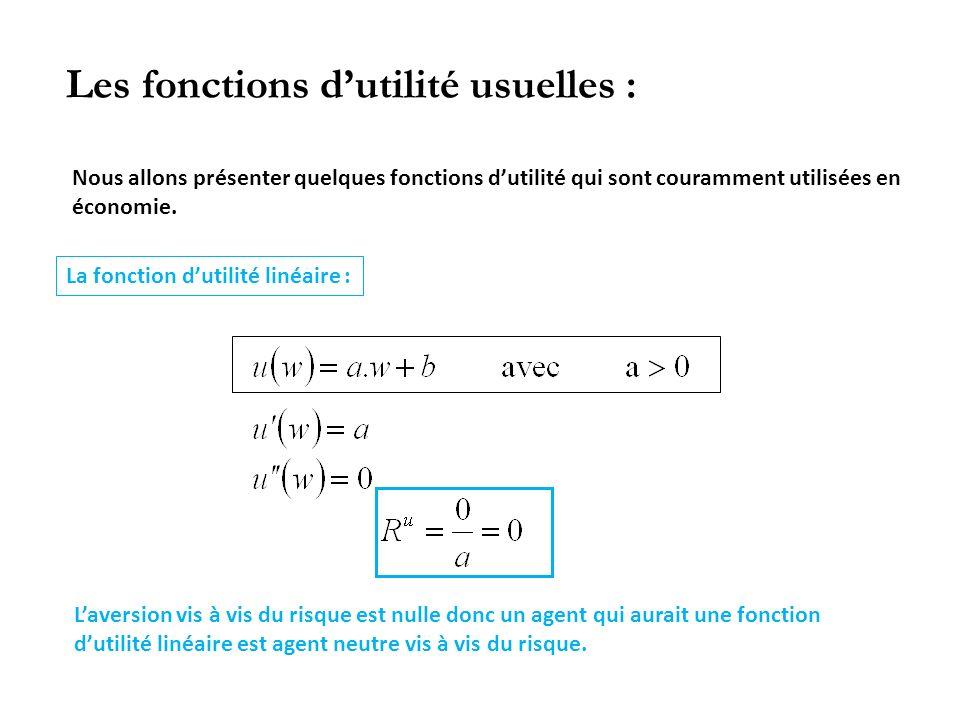 Les fonctions dutilité usuelles : Nous allons présenter quelques fonctions dutilité qui sont couramment utilisées en économie. La fonction dutilité li