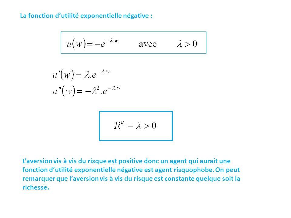 La fonction dutilité exponentielle négative : Laversion vis à vis du risque est positive donc un agent qui aurait une fonction dutilité exponentielle