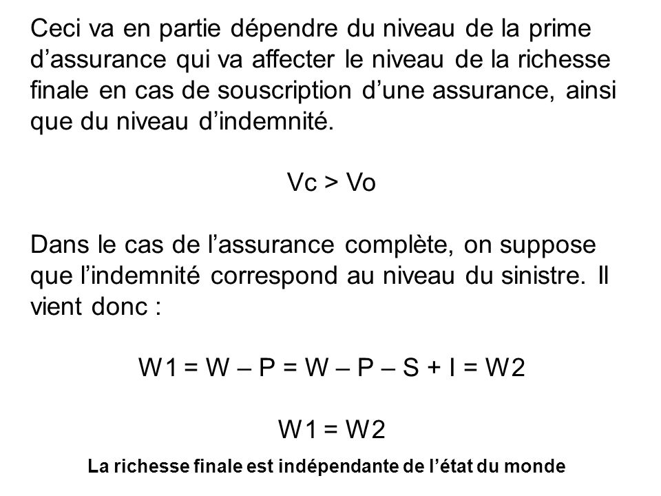 Ceci va en partie dépendre du niveau de la prime dassurance qui va affecter le niveau de la richesse finale en cas de souscription dune assurance, ain