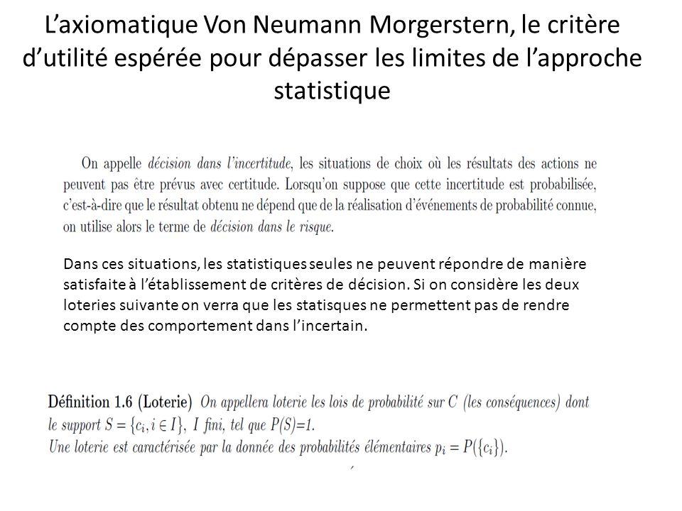 Laxiomatique Von Neumann Morgerstern, le critère dutilité espérée pour dépasser les limites de lapproche statistique Dans ces situations, les statisti