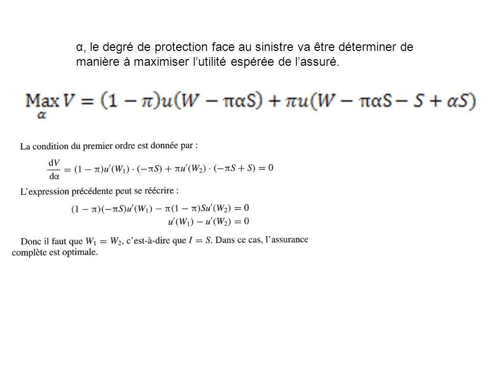 α, le degré de protection face au sinistre va être déterminer de manière à maximiser lutilité espérée de lassuré.