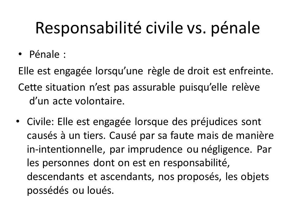Responsabilité civile vs. pénale Pénale : Elle est engagée lorsquune règle de droit est enfreinte. Cette situation nest pas assurable puisquelle relèv