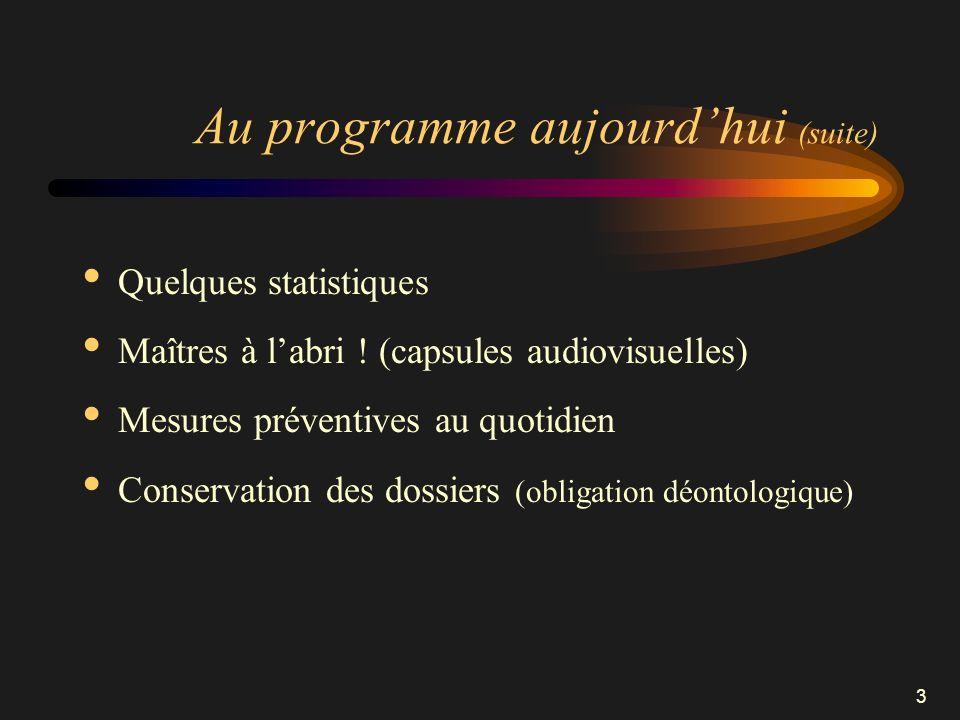3 Au programme aujourdhui (suite) Quelques statistiques Maîtres à labri ! (capsules audiovisuelles) Mesures préventives au quotidien Conservation des
