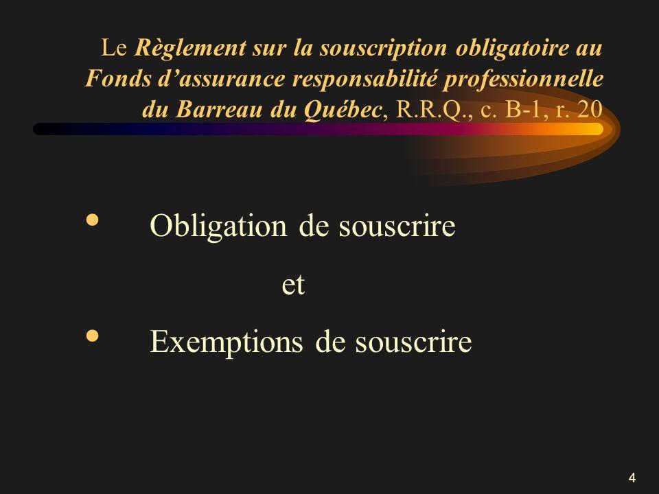 4 Le Règlement sur la souscription obligatoire au Fonds dassurance responsabilité professionnelle du Barreau du Québec, R.R.Q., c. B-1, r. 20 Obligati