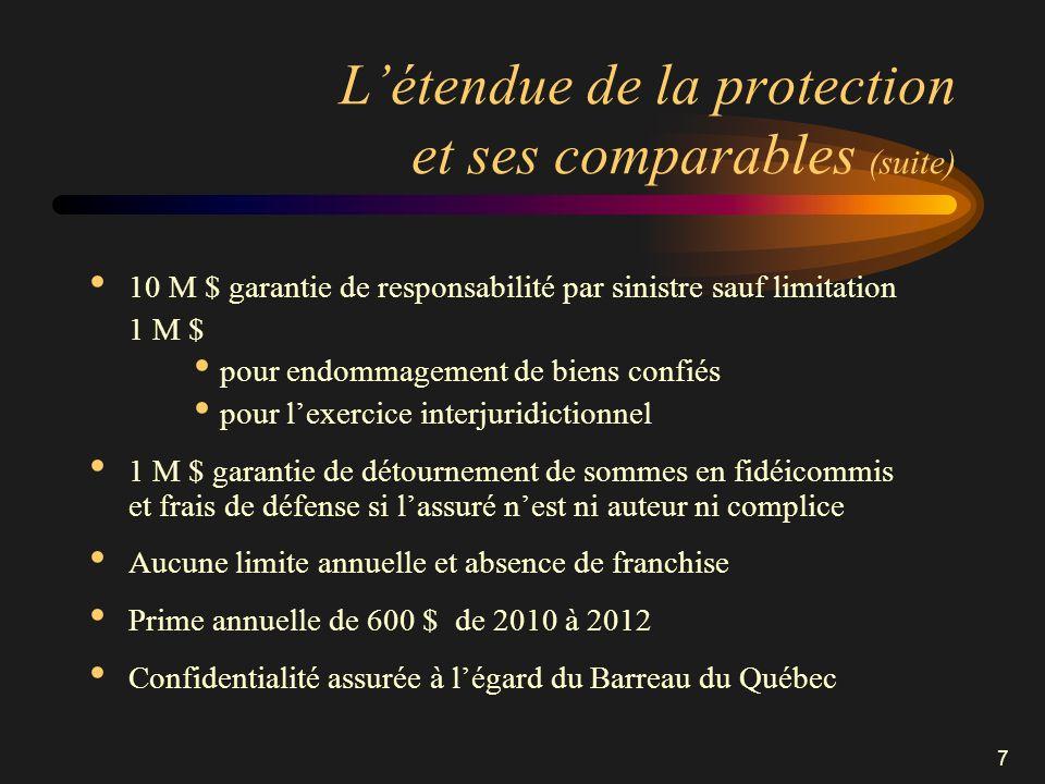 7 Létendue de la protection et ses comparables (suite) 10 M $ garantie de responsabilité par sinistre sauf limitation 1 M $ pour endommagement de bien