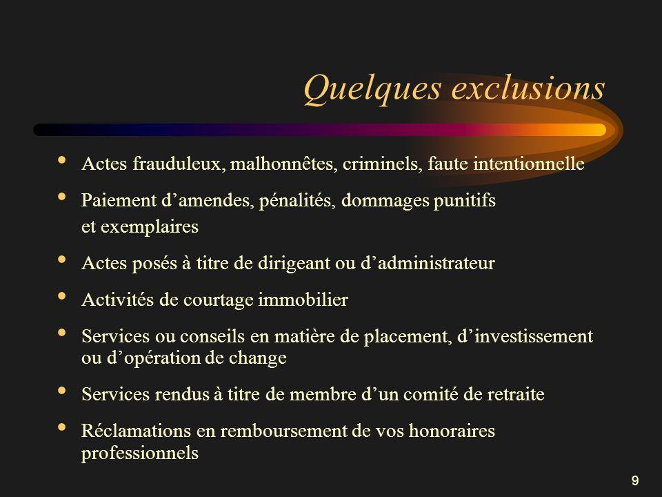 9 Quelques exclusions Actes frauduleux, malhonnêtes, criminels, faute intentionnelle Paiement damendes, pénalités, dommages punitifs et exemplaires Ac