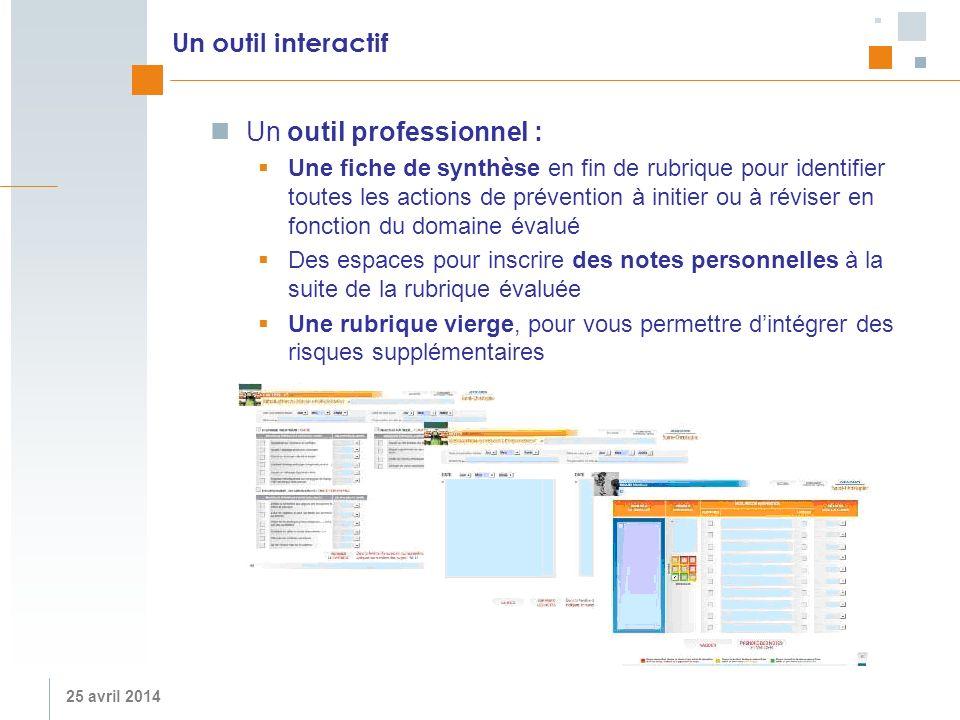 25 avril 2014 Un outil interactif Un outil professionnel : Une fiche de synthèse en fin de rubrique pour identifier toutes les actions de prévention à